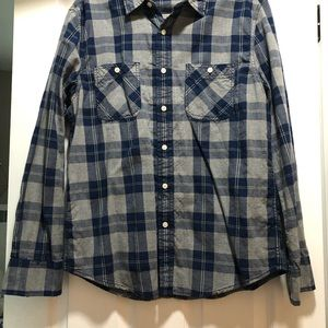 Size M blue, gray, yellow plaid men's button up